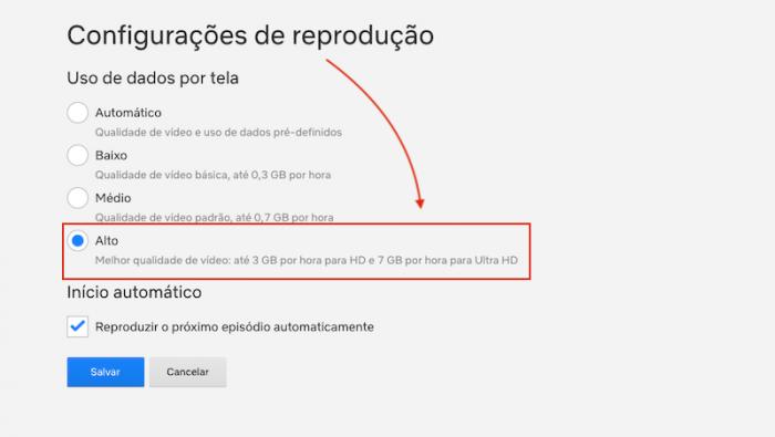 Configuracoes de Reproducao Netflix