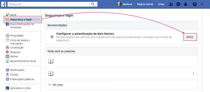 Segurança Login Facebook