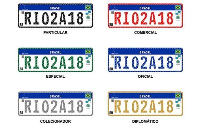 Cores da placa padrão Mercosul - Brasil