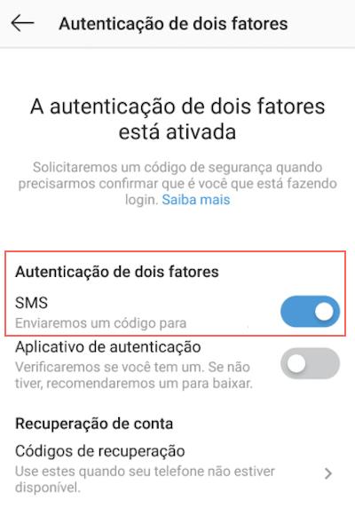 Autenticação em Dois Fatores Instagram SMS