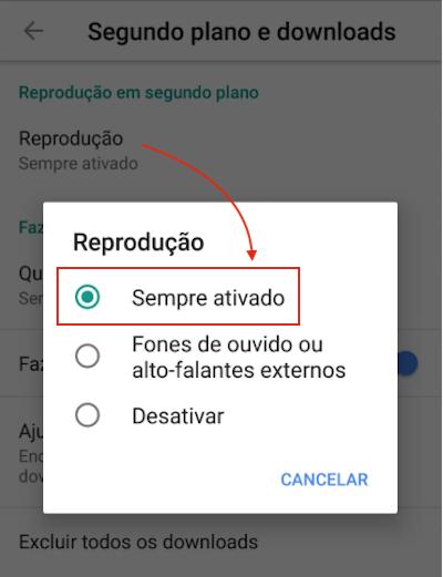 Segundo Plano YouTube Ativado
