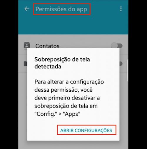 Sobreposição de tela no Android 6.0
