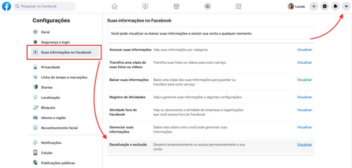 caminho para desativar a conta do facebook