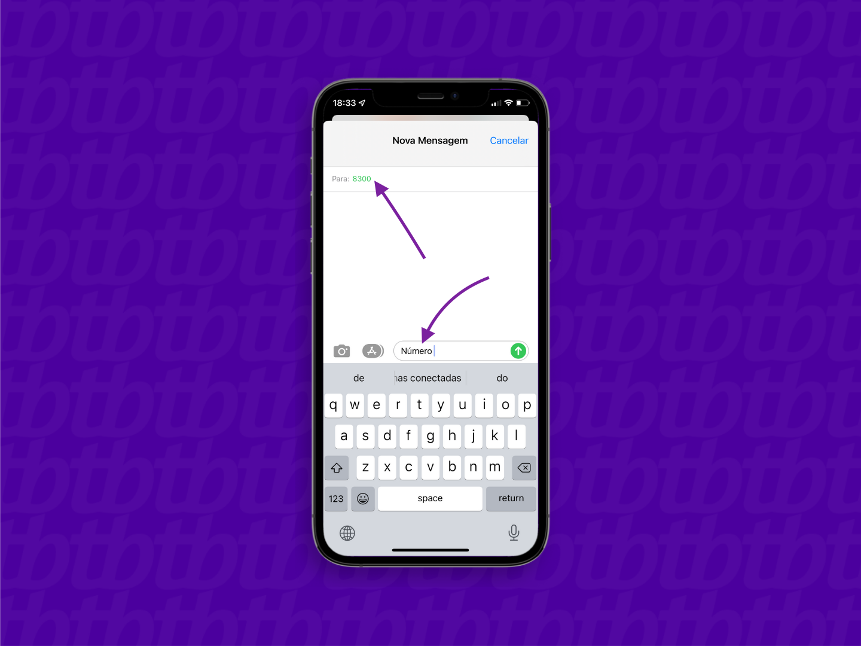 Conversa no aplicativo Mensagens do iPhone com mensagem para descobrir o número da vivo