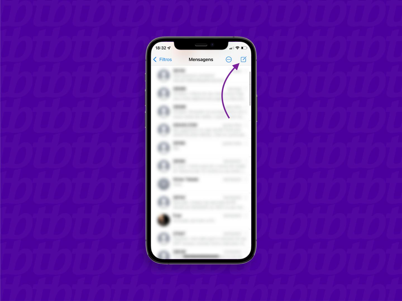 Tela do aplicativo de mensagens do iPhone com seta indicando o botão para iniciar uma nova conversa