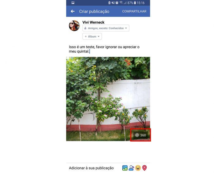 foto 360 facebook / Viviane Werneck / Tecnoblog