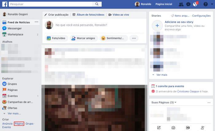 Facebook / Passo 1 / como fazer uma página no Facebook