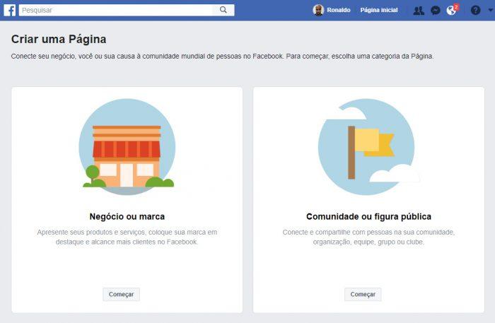 Facebook / Passo 2 / como fazer uma página no Facebook