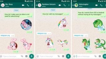 Telegram publica stickers para serem usados no WhatsApp