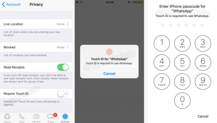 Suporte para Touch ID e Face ID no WhatsApp