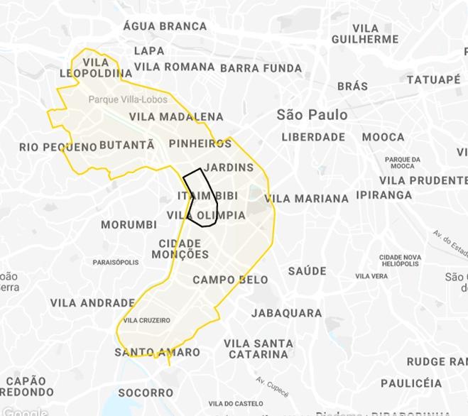 Área em amarelo para bicicletas; área em preto para patinetes