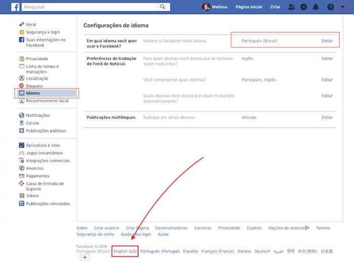 Como mudar idioma do Facebook