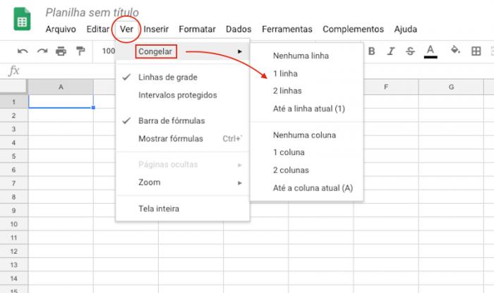 Google Sheets - congelar linhas e colunas