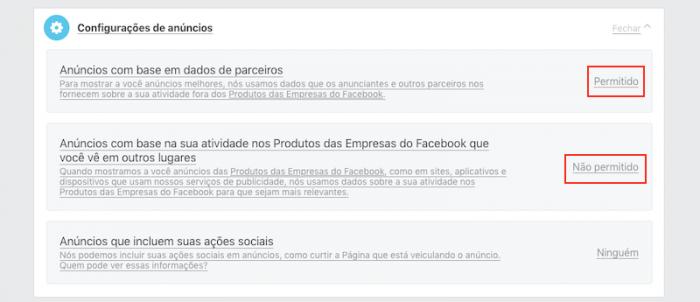 Preferencias de Anúncios do Facebook