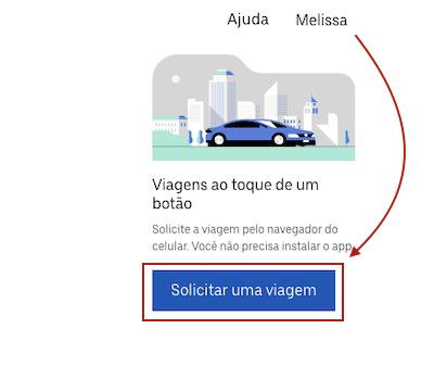 Uber Solicitar viagem PC