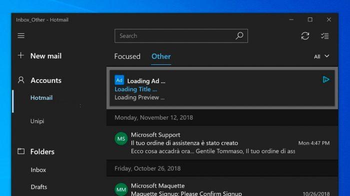 Anúncio exibido pela Microsoft no app Email do Windows 10