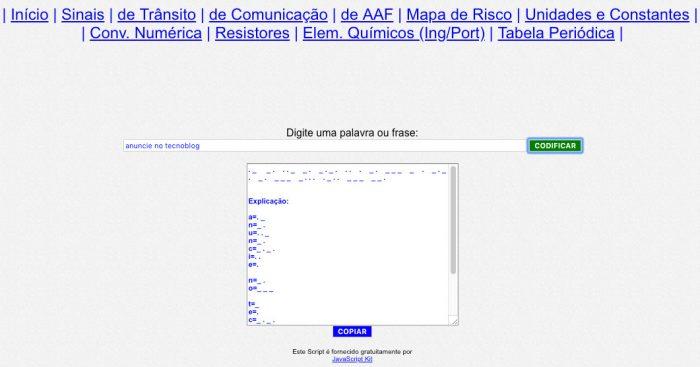 Web / conversor para morse do AreaSeg / tradutor de código morse