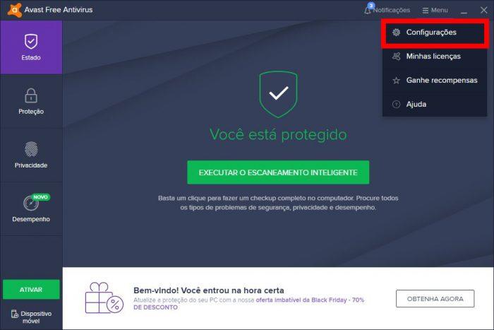 Interface inicial / como desativar o Avast