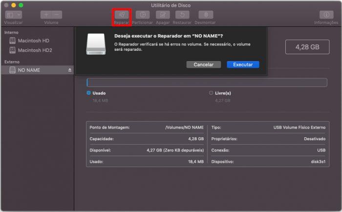 Utilitário de Disco do macOS / como remover proteção contra gravação