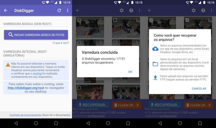 Android / DiskDigger / recuperar fotos apagadas do cartão de memoria