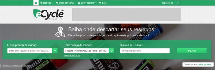 site do eCycle / motor de busca de cooperativas / lixo eletrônico