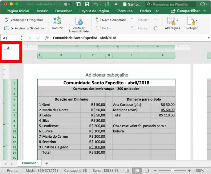 Microsoft Excel / destaque no botão Selecionar Tudo / desproteger planilha Excel