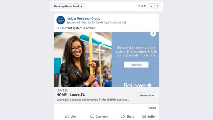 Anúncio no Facebook em nome da Cambridge Analytica