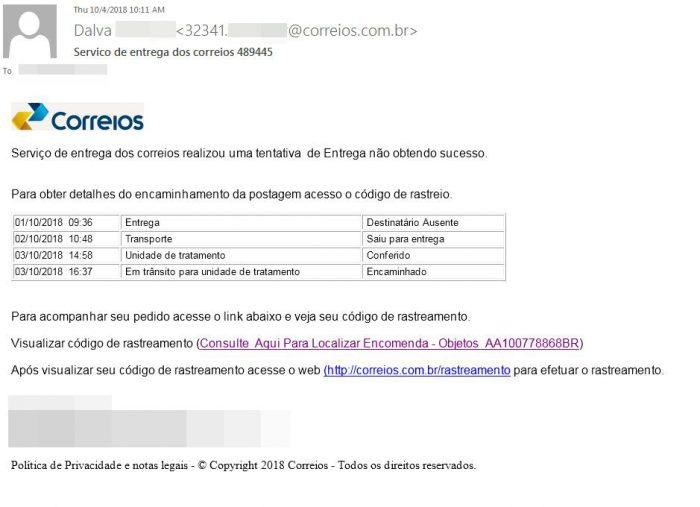 O e-mail falso dos Correios usado no golpe
