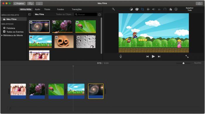 macOS / iMovie / fazer vídeos com música e fotos
