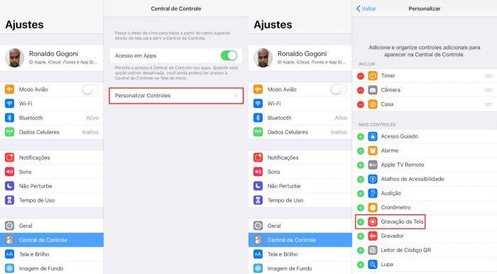 iPad / Gravação de Tela / como gravar chamada de vídeo