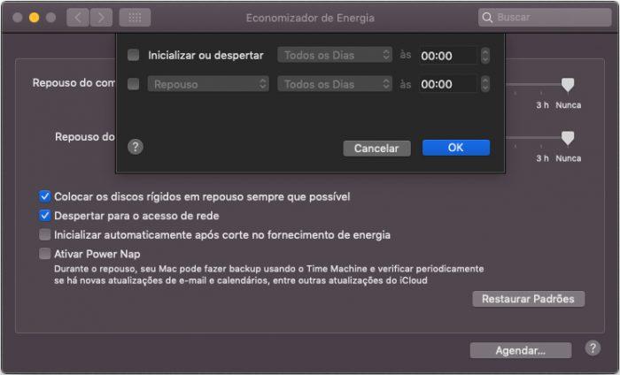 macOS / Economizador de Energia / como programar o pc para desligar