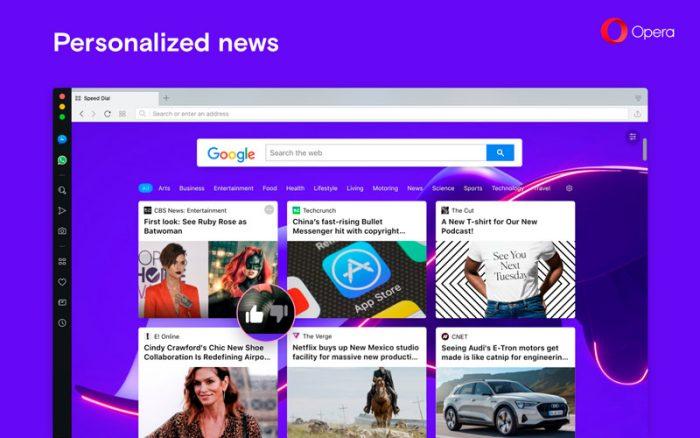 Opera 57 tem sugestões de notícias baseadas no seu interesse