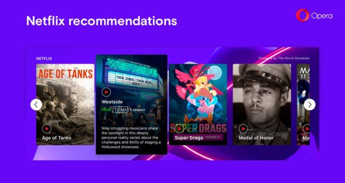 Opera 57 tem recomendações do que asssitir na Netflix