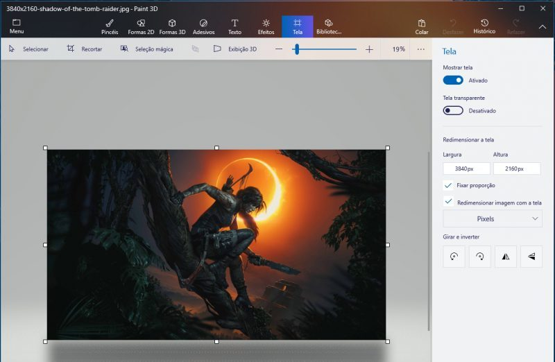 Paint 3D / Windows / redimensionar imagens