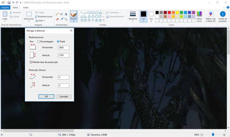 Paint / Windows / redimensionar imagens