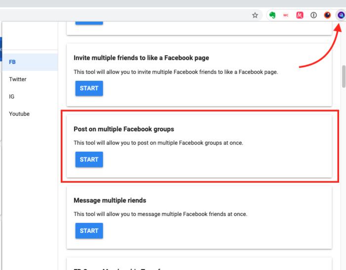 Extensão para postar em vários grupos do Facebook ao mesmo tempo