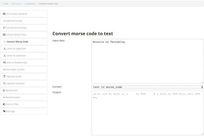 Web / Unit Conversion / tradutor de código morse