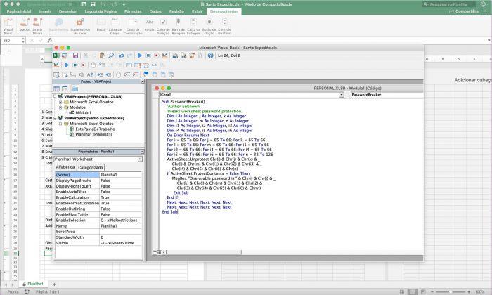 Microsoft Visual Basic / desproteger planilha Excel