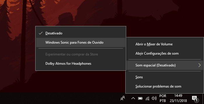 Windows 10 / menu para ativar áudio 3D