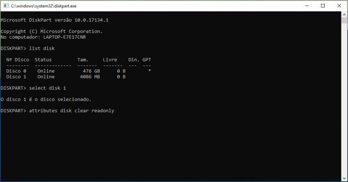 Microsoft DiskPart / como remover proteção contra gravação