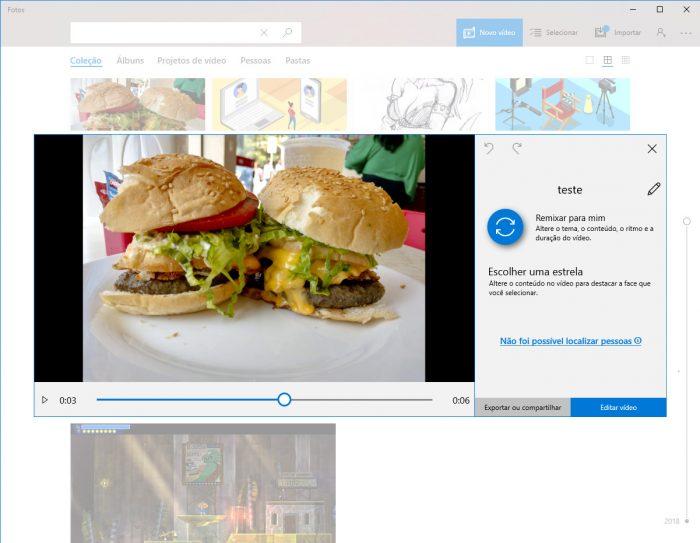 Windows / Fotos / fazer vídeos com música e fotos