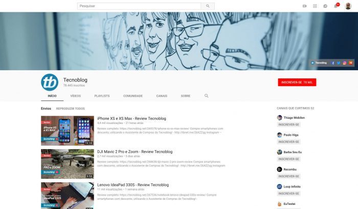Tecnoblog / Canal profissional do YouTube / como criar um canal no youtube