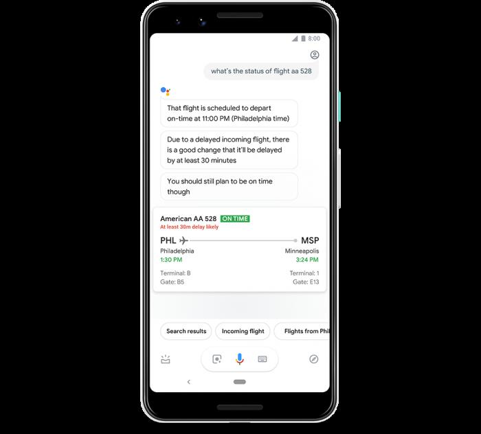 Google Assistente / Atraso em voo