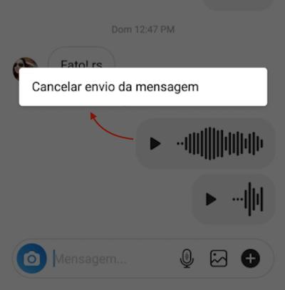 Cancelar Envio Mensagem Instagram