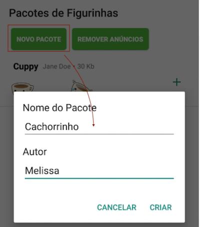 Criar novo Pacote de Figurinhas WhatsApp