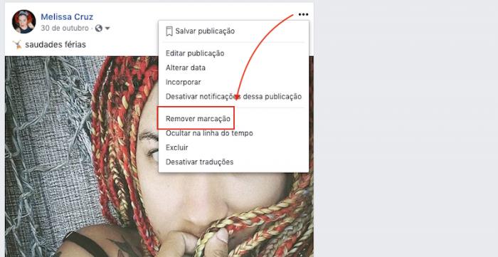 Remover marcacao no Facebook