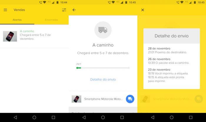 Android / Mercado Livre / rastreamento correios
