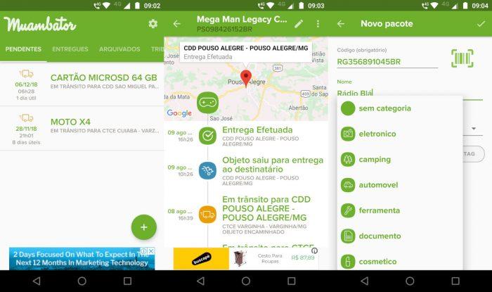 Android / Muambator / rastreamento correios