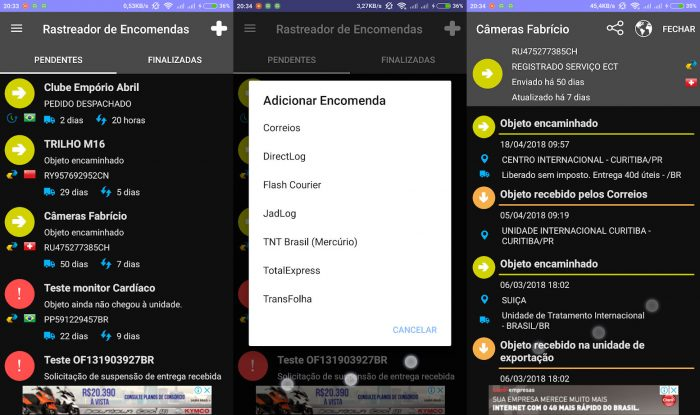 Android / Rastreador de Encomendas / rastreamento correios