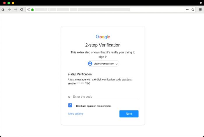 Falsa página de autenticação em duas etapas